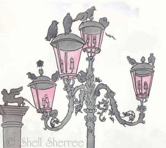 Pink Streetlight Venice with Pigeons Silhouette - giclee print of original Venice illustration