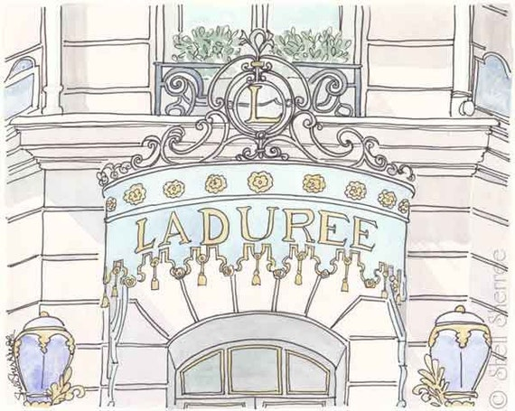 Laduree Champs-Elysees Paris - Pastel, Mint - Giclee Print