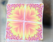 RAW Polymer Clay Kaleidoscope Cane Yellow, Pale Salmon, Red and White No. 102