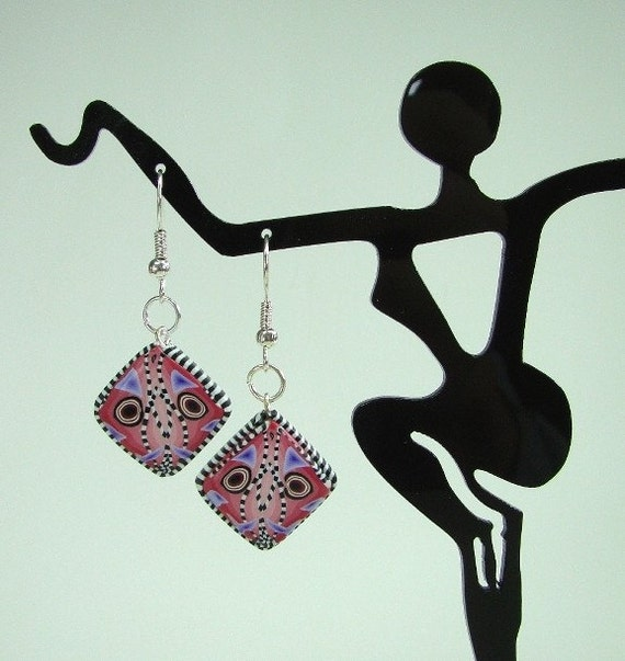 Red Kaleidoscope Cane Earrings