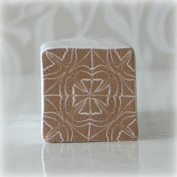 Polymer Clay Kaleidoscope Cane Light Brown and White