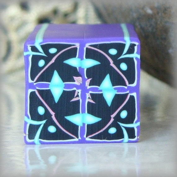 RAW Polymer Clay Kaleidoscope Cane Black, Purple, Turquoise, Pink and White No. 113