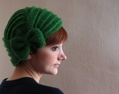 Hot Green Crochet Beret with Bow