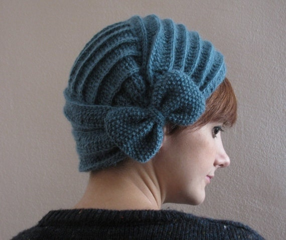 Soft Blue Crochet Beret with Bow