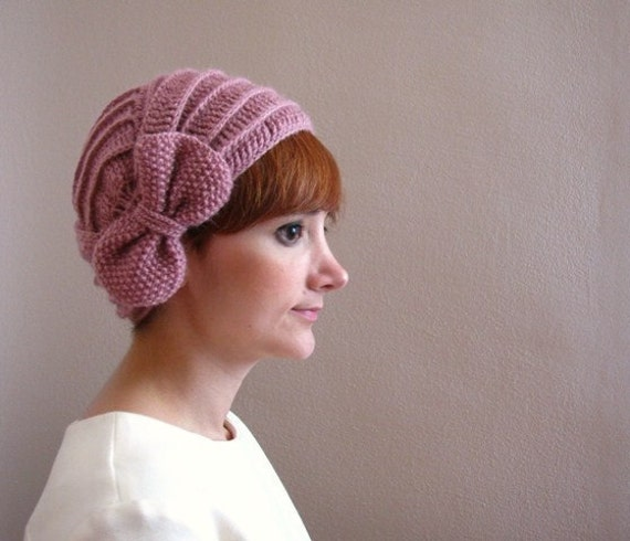 Dusty Rose Crochet Beret with Bow