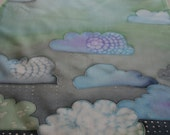 Hand painted silk scarf (OOAK blue green clouds with white dots of rain)