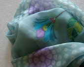 Hand painted silk scarf (OOAK grey blue navy purple violet yellow green colors, with pom pom edging)