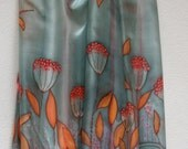 Hand painted silk scarf (OOAK grey blue orange red colors) / made to order/ silk scarf/ painted silks/ painted scarves/ handmade scarves