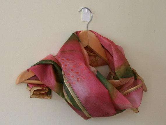 Hand painted silk scarf (dusty pink green colors, watermelon)