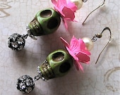 SUGAR SKULL DANDY Earrings - Dressed Up And Ready For A Fun Night Out - Roses Rhinestones Pearls Skulls - Dead Never Looked So Good