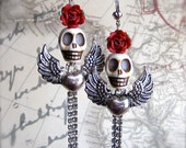LOVE ME To DEATH - Day Of The Dead Earrings - Winged Skulls And Hearts - Rhinestones Roses - Hardcore Honeys - Extreme Tattoo Style