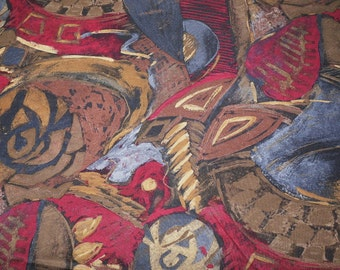 1970s Bold Abstract 3 and 1/2 Yards Vintage Fabric Silky Polyester