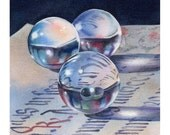 Surface Tension art print still life of marbles from original watercolor painting