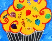 ON RESERVE- 2 Pretty Cupcake Painting 6 x 8