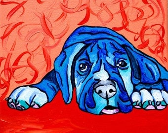 SALE Abstract Pit Bull Puppy Dog Painting 8 x 8