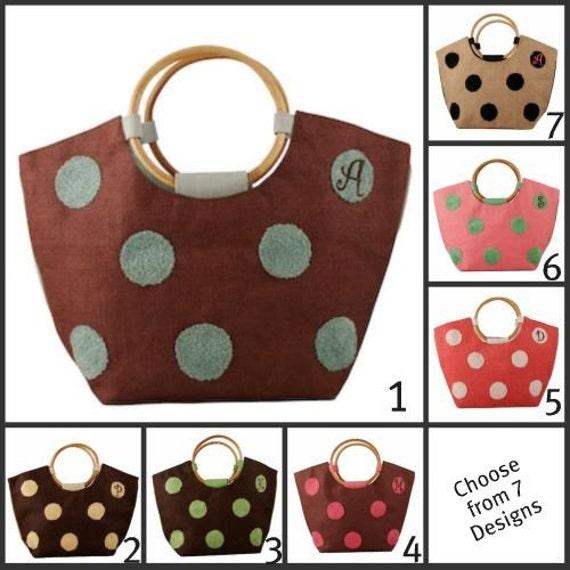 Monogrammed Polka Dot Jute Summer Bag with Wooden Handles