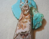 Rust and Cream Blooming Crazy Lace Agate in Sterling SIlver