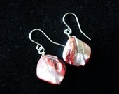 Rose Colored Mother of Pearl Wire Wrapped Ear Bobs