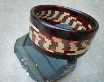 Wood Intarsia Bangle Bracelet - Light and Dark