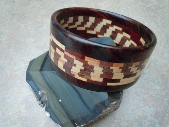 Wood Intarsia Bangle Bracelet - Light and Dark