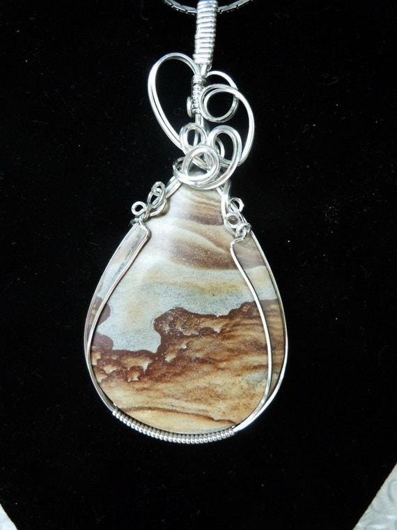 High Desert Beauty an Owhyee Picture Jasper Pendant in Sterling Silver