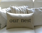 Burlap Our Nest lumbar pillow cover