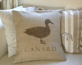 Burlap French Duck Canard pillow cover