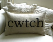 Welsh cwtch cuddle burlap (hessian) pillow cushion cover - Etsy Front Page item.
