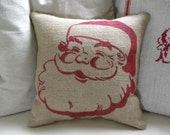 READY TO SHIP burlap (hessian) Christmas Santa stuffed pillow