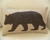 Burlap (hessian) bear pillow cushion COVER
