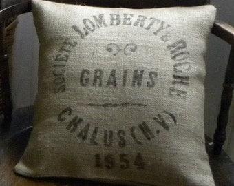 Burlap replica French grain sack pillow cover