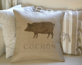 Burlap (hessian) French Pig Cochon pillow cover