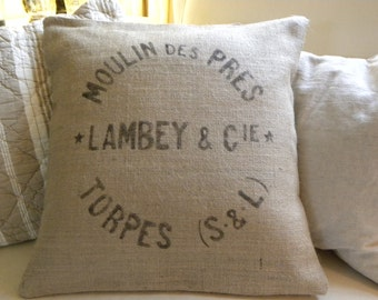 Burlap (hessian) replica French grain sack pillow cover