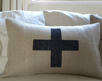 Burlap (hessian) pillow cover with swiss cross