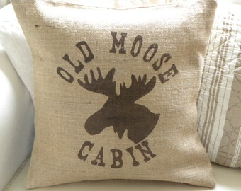 Burlap moose cabin pillow cover