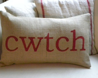 Welsh cwtch cuddle burlap pillow cushion cover