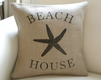 Burlap (hessian) beach house starfish sea star pillow cover