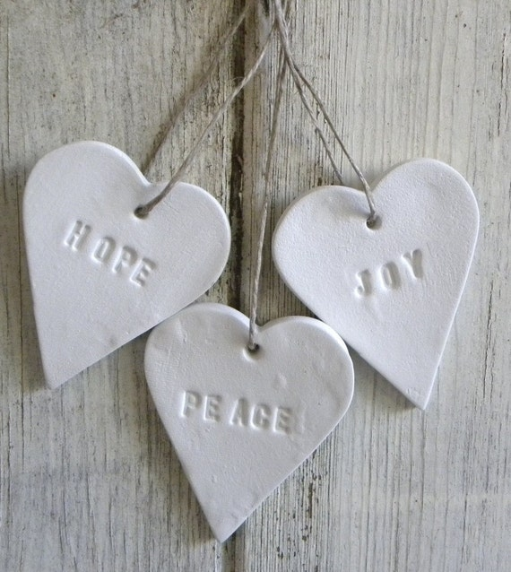 Peace, Joy and Hope set of 3 white clay Christmas tree decorations