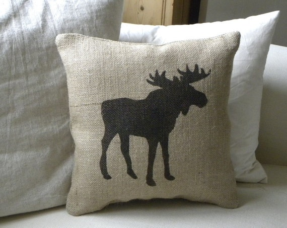 Burlap (hessian) Moose pillow Cushion Christmas winter or boys room - Etsy Front Page item