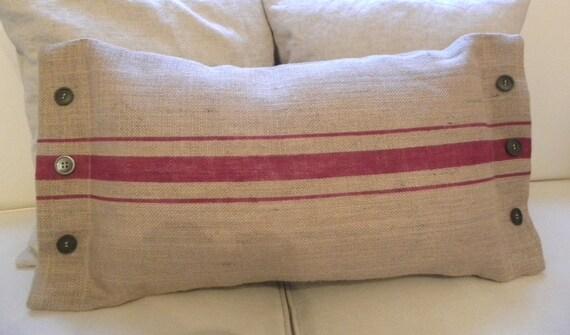 Burlap faux grainsack lumbar pillow cover with buttons