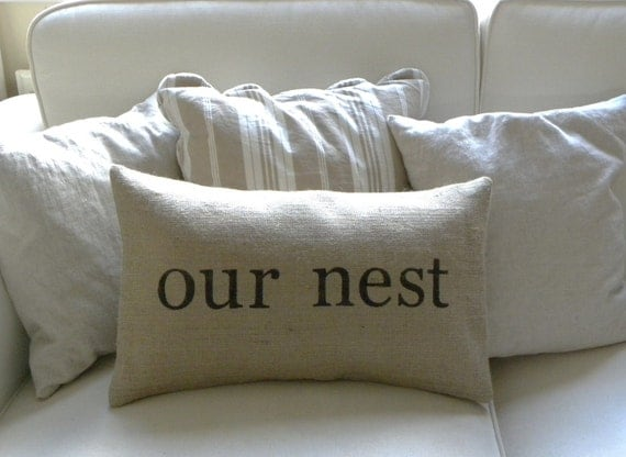 Burlap (hessian) Our Nest lumbar pillow cover