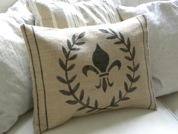 Burlap laurel wreath and fleur de lis pillow cover