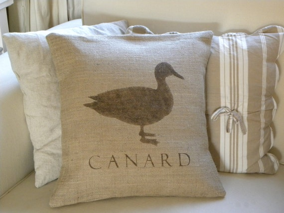 Burlap (hessian) French Duck Canard pillow cover