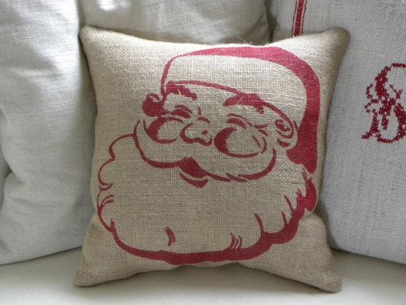 SALE - SHIPS IMMEDIATELY burlap Christmas Santa stuffed pillow