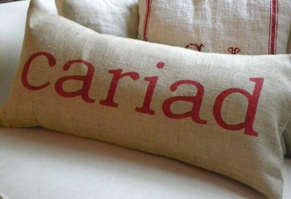Welsh Cariad Love burlap (hessian) pillow cushion cover
