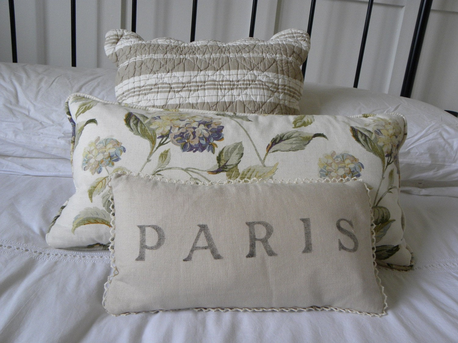 Paris France French Linen Throw Pillow