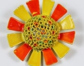 Bright Orange and Yellow Striped Vintage Hat Brooch