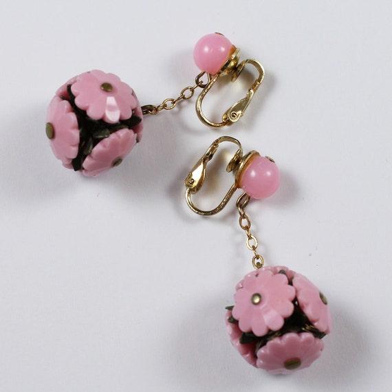 Vintage Pink Plastic Floral Ball Earrings