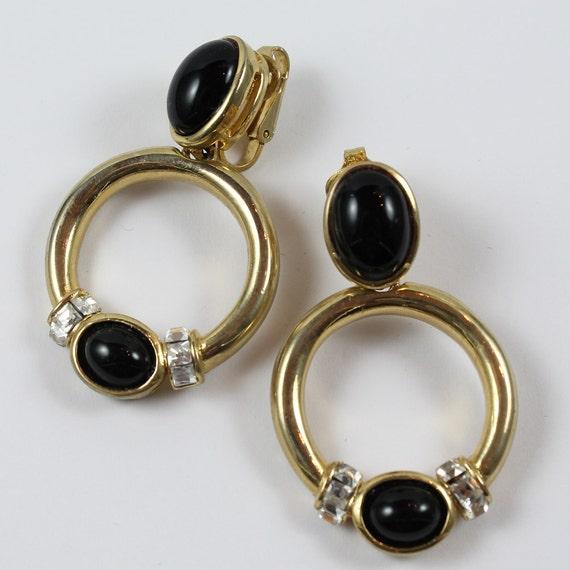 Vintage 1980's Black and Gold Rhinestone Big Earrings