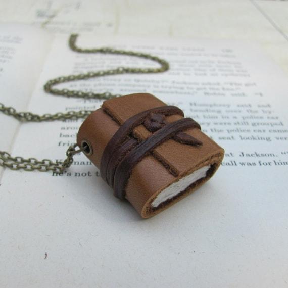 Caramel Leather Book Necklace